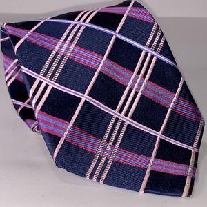 DIOR Signature 100% Silk Tie Blue Purple Plaid